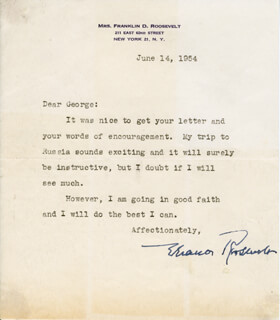 Autographs: FIRST LADY ELEANOR ROOSEVELT - TYPED LETTER SIGNED 06/14/1954
