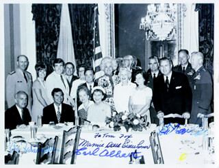 FIRST LADY MAMIE DOUD EISENHOWER - AUTOGRAPHED INSCRIBED PHOTOGRAPH CO-SIGNED BY: CARL B. ALBERT