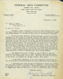 BURGESS MEREDITH - TYPED LETTER SIGNED 02/07/1938