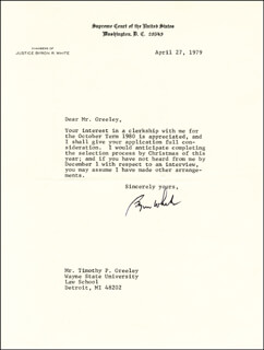 Autographs: ASSOCIATE JUSTICE BYRON R. WHITE - TYPED LETTER SIGNED 04/27/1979