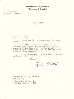 ASSOCIATE JUSTICE LEWIS F. POWELL JR. - TYPED LETTER SIGNED 05/02/1979