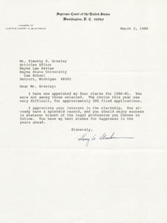 Autographs: ASSOCIATE JUSTICE HARRY A. BLACKMUN - TYPED LETTER SIGNED 03/03/1980