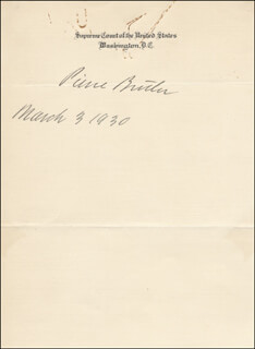 ASSOCIATE JUSTICE PIERCE BUTLER - AUTOGRAPH 03/03/1930