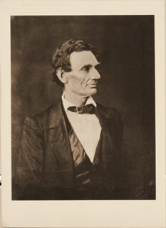 Autographs: PRESIDENT ABRAHAM LINCOLN - PHOTOGRAPH UNSIGNED