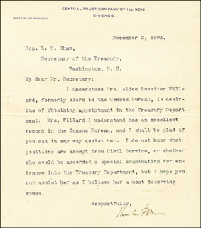 Autographs: VICE PRESIDENT CHARLES G. DAWES - TYPED LETTER SIGNED 12/02/1903