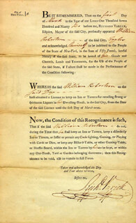 MAYOR RICHARD VARICK - DOCUMENT SIGNED 03/01/1792