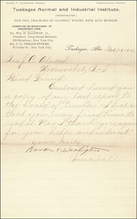 BOOKER T. WASHINGTON - MANUSCRIPT LETTER SIGNED 10/28/1901