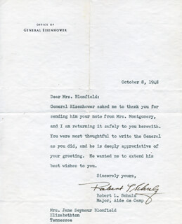 BRIGADIER GENERAL ROBERT L. SCHULZ - TYPED LETTER SIGNED 10/08/1948