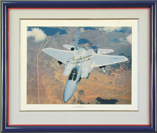 Autographs: BRIGADIER GENERAL CHUCK YEAGER - PRINTED ILLUSTRATION SIGNED CIRCA 1988