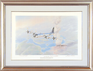 ENOLA GAY CREW (PAUL W. TIBBETS) - PRINTED ART SIGNED IN INK CO-SIGNED BY: ENOLA GAY CREW (THEODORE VAN KIRK), ENOLA GAY CREW (COLONEL THOMAS W. FEREBEE)