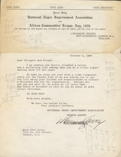 Autographs: MARCUS GARVEY - TYPED LETTER SIGNED 10/04/1937