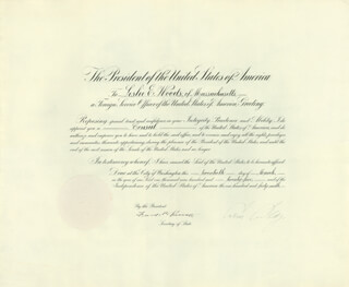 Autographs: PRESIDENT CALVIN COOLIDGE - DIPLOMATIC APPOINTMENT SIGNED 03/20/1925 CO-SIGNED BY: FRANK B. KELLOGG