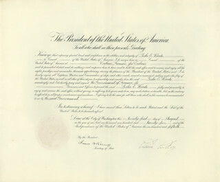 PRESIDENT CALVIN COOLIDGE - DIPLOMATIC APPOINTMENT SIGNED 08/21/1925 CO-SIGNED BY: FRANK B. KELLOGG