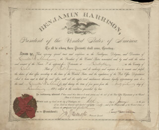 Autographs: PRESIDENT BENJAMIN HARRISON - CIVIL APPOINTMENT SIGNED 01/13/1890 CO-SIGNED BY: JOHN WANAMAKER