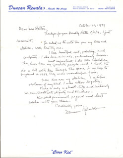 DUNCAN THE CISCO KID RENALDO - AUTOGRAPH LETTER SIGNED 10/10/1979