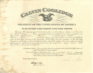 Autographs: PRESIDENT CALVIN COOLIDGE - CIVIL APPOINTMENT SIGNED 04/27/1926 CO-SIGNED BY: HARRY S. NEW