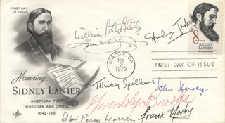 JOHN HERSEY - FIRST DAY COVER SIGNED CO-SIGNED BY: TOM WOLFE, FRANK YERBY, ROBERT PENN WARREN, STUDS TERKEL, WILLIAM PETER BLATTY, MICKEY SPILLANE, GWENDOLYN BROOKS