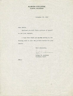 DELMAR W. ANDERSON - TYPED LETTER SIGNED 11/29/1948
