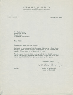 Autographs: REEVES H. BAYSINGER - TYPED LETTER SIGNED 10/11/1948