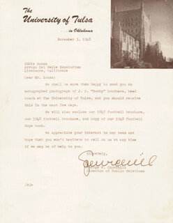 GEORGE W. CHURCHILL - TYPED LETTER SIGNED 11/03/1948