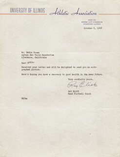 RAY ELIOT - TYPED LETTER SIGNED 10/06/1948