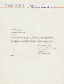 RAY ELIOT - TYPED LETTER SIGNED 12/30/1948