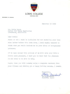 WALLY FROMHART - TYPED LETTER SIGNED 12/10/1948