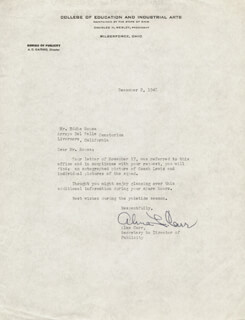 ALMA CARR - TYPED LETTER SIGNED 12/02/1948