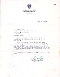Autographs: PRESIDENT ARNULFO ARIAS (PANAMA) - TYPED LETTER SIGNED 05/15/1950