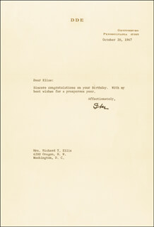 PRESIDENT DWIGHT D. EISENHOWER - TYPED LETTER SIGNED 10/20/1967