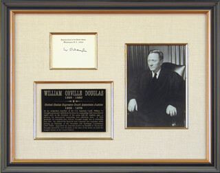 Autographs: ASSOCIATE JUSTICE WILLIAM O. DOUGLAS - SUPREME COURT CARD SIGNED