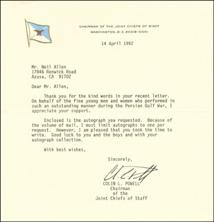 Autographs: GENERAL COLIN L. POWELL - TYPED LETTER SIGNED 04/14/1992