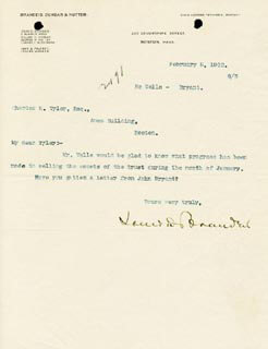 Autographs: ASSOCIATE JUSTICE LOUIS D. BRANDEIS - TYPED LETTER SIGNED 02/05/1902