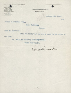 Autographs: ASSOCIATE JUSTICE LOUIS D. BRANDEIS - TYPED LETTER SIGNED 10/21/1902