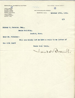 Autographs: ASSOCIATE JUSTICE LOUIS D. BRANDEIS - TYPED NOTE SIGNED 10/17/1902