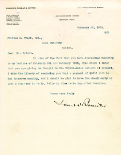 Autographs: ASSOCIATE JUSTICE LOUIS D. BRANDEIS - TYPED LETTER SIGNED 02/28/1902
