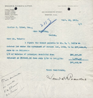 Autographs: ASSOCIATE JUSTICE LOUIS D. BRANDEIS - TYPED LETTER SIGNED 09/22/1902