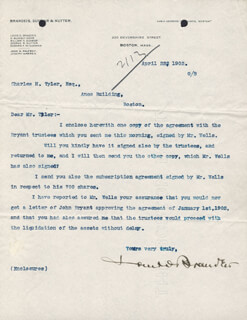 ASSOCIATE JUSTICE LOUIS D. BRANDEIS - TYPED LETTER SIGNED 04/22/1902
