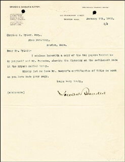 Autographs: ASSOCIATE JUSTICE LOUIS D. BRANDEIS - TYPED LETTER SIGNED 01/07/1903