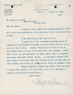 ASSOCIATE JUSTICE LOUIS D. BRANDEIS - TYPED LETTER SIGNED 01/01/1902