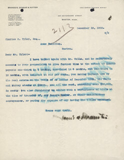 Autographs: ASSOCIATE JUSTICE LOUIS D. BRANDEIS - TYPED LETTER SIGNED 12/19/1902