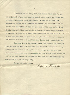 Autographs: CLARA BARTON - TYPED LETTER SIGNED 12/06