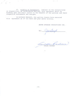 GILDA RADNER - CONTRACT SIGNED 01/30/1979