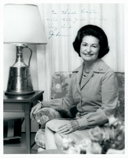 FIRST LADY LADY BIRD JOHNSON - AUTOGRAPHED INSCRIBED PHOTOGRAPH CIRCA 1974