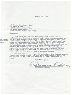 TENNESSEE WILLIAMS - DOCUMENT SIGNED 08/22/1980