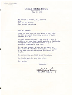 VICE PRESIDENT HUBERT H. HUMPHREY - TYPED LETTER SIGNED 07/30/1959