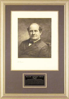 Autographs: WILLIAM JENNINGS BRYAN - ENGRAVING SIGNED