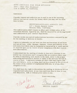 BRUCE CABOT - DOCUMENT SIGNED 07/21/1961