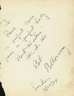 CAB CALLOWAY - AUTOGRAPH NOTE SIGNED CIRCA 1934