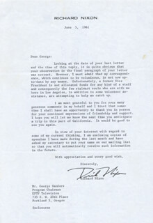 PRESIDENT RICHARD M. NIXON - TYPED LETTER SIGNED 06/05/1961